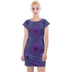 Peacock Glitter Feather Pattern Cap Sleeve Bodycon Dress by tarastyle