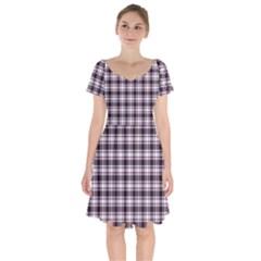 Tartan Pattern Short Sleeve Bardot Dress