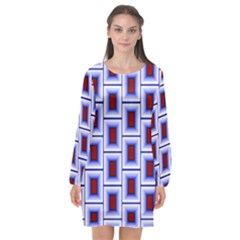 Abstract Square Illustrations Background Long Sleeve Chiffon Shift Dress  by Pakrebo