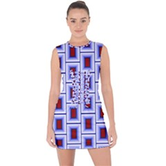 Abstract Square Illustrations Background Lace Up Front Bodycon Dress