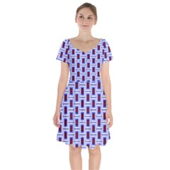 Abstract Square Illustrations Background Short Sleeve Bardot Dress by Pakrebo