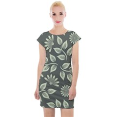 Flowers Pattern Spring Nature Cap Sleeve Bodycon Dress