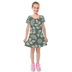 Flowers Pattern Spring Nature Kids  Short Sleeve Velvet Dress