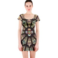Church Window Rosette Glass Window Short Sleeve Bodycon Dress