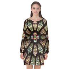 Church Window Rosette Glass Window Long Sleeve Chiffon Shift Dress