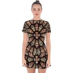 Church Window Rosette Glass Window Drop Hem Mini Chiffon Dress