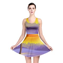 Vector Illustration Winter Sunset Reversible Skater Dress