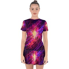 Abstract Cosmos Space Particle Drop Hem Mini Chiffon Dress by Pakrebo