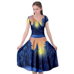 Illustration Vector Winter Sunset Cap Sleeve Wrap Front Dress
