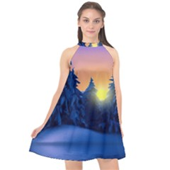Illustration Vector Winter Sunset Halter Neckline Chiffon Dress