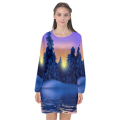 Illustration Vector Winter Sunset Long Sleeve Chiffon Shift Dress