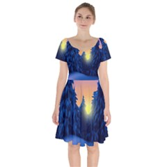 Illustration Vector Winter Sunset Short Sleeve Bardot Dress