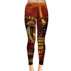 Awesome Dinosaur, Konda In The Night Leggings  by FantasyWorld7