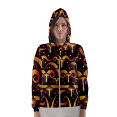 Stylised Horns Black Pattern Women s Hooded Windbreaker