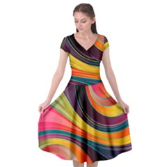Abstract Colorful Background Wavy Cap Sleeve Wrap Front Dress by HermanTelo