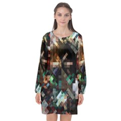 Abstract Texture Desktop Long Sleeve Chiffon Shift Dress  by HermanTelo