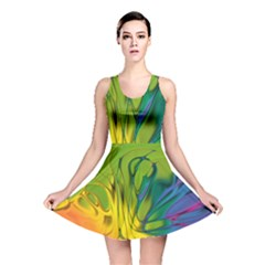 Abstract Pattern Lines Wave Reversible Skater Dress