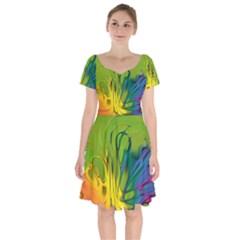 Abstract Pattern Lines Wave Short Sleeve Bardot Dress