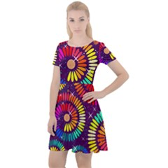 Abstract Background Spiral Colorful Cap Sleeve Velour Dress  by HermanTelo