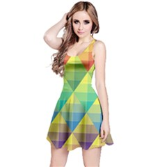 Background Colorful Geometric Triangle Reversible Sleeveless Dress