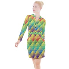 Background Colorful Geometric Triangle Button Long Sleeve Dress
