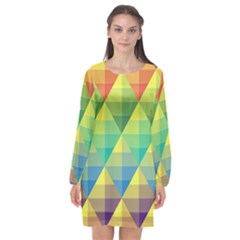 Background Colorful Geometric Triangle Long Sleeve Chiffon Shift Dress