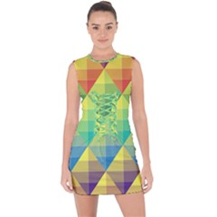 Background Colorful Geometric Triangle Lace Up Front Bodycon Dress by HermanTelo