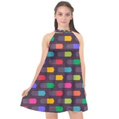 Background Colorful Geometric Halter Neckline Chiffon Dress  by HermanTelo