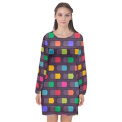 Background Colorful Geometric Long Sleeve Chiffon Shift Dress