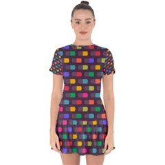Background Colorful Geometric Drop Hem Mini Chiffon Dress by HermanTelo