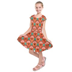 Background Floral Pattern Red Kids  Short Sleeve Dress