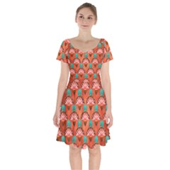 Background Floral Pattern Red Short Sleeve Bardot Dress