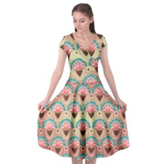 Background Floral Pattern Pink Cap Sleeve Wrap Front Dress by HermanTelo