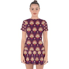 Background Floral Pattern Purple Drop Hem Mini Chiffon Dress
