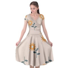 Flowers Continuous Pattern Nature Cap Sleeve Wrap Front Dress by HermanTelo