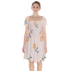 Flowers Continuous Pattern Nature Short Sleeve Bardot Dress