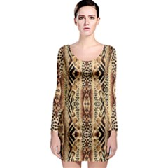 Safari Long Sleeve Bodycon Dress