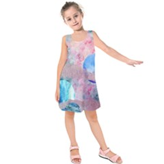 Abstract Clouds And Moon Kids  Sleeveless Dress