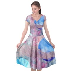 Abstract Clouds And Moon Cap Sleeve Wrap Front Dress