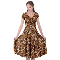Modern Camouflage Pattern Cap Sleeve Wrap Front Dress by tarastyle