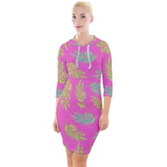 Neon Tropical Flowers Pattern Quarter Sleeve Hood Bodycon Dress