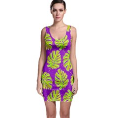 Neon Tropical Flowers Pattern Bodycon Dress