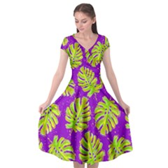 Neon Tropical Flowers Pattern Cap Sleeve Wrap Front Dress by tarastyle