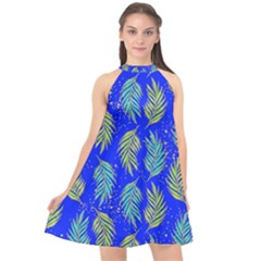 Neon Tropical Flowers Pattern Halter Neckline Chiffon Dress  by tarastyle
