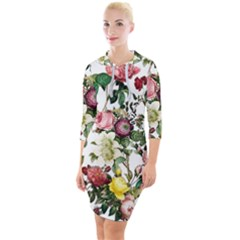 Elegant Vintage Flowers Pattern  Quarter Sleeve Hood Bodycon Dress by tarastyle