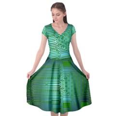 Board Conductors Circuits Cap Sleeve Wrap Front Dress