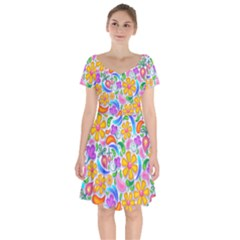 Floral Paisley Background Flower Yellow Short Sleeve Bardot Dress