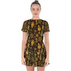 Christmas Background Gold Drop Hem Mini Chiffon Dress