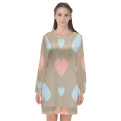 Hearts Heart Love Romantic Brown Long Sleeve Chiffon Shift Dress