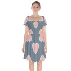 Hearts Love Blue Pink Green Short Sleeve Bardot Dress